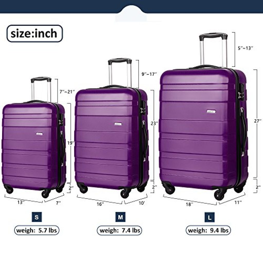 Merax Afuture 3 Piece Luggage Set Size