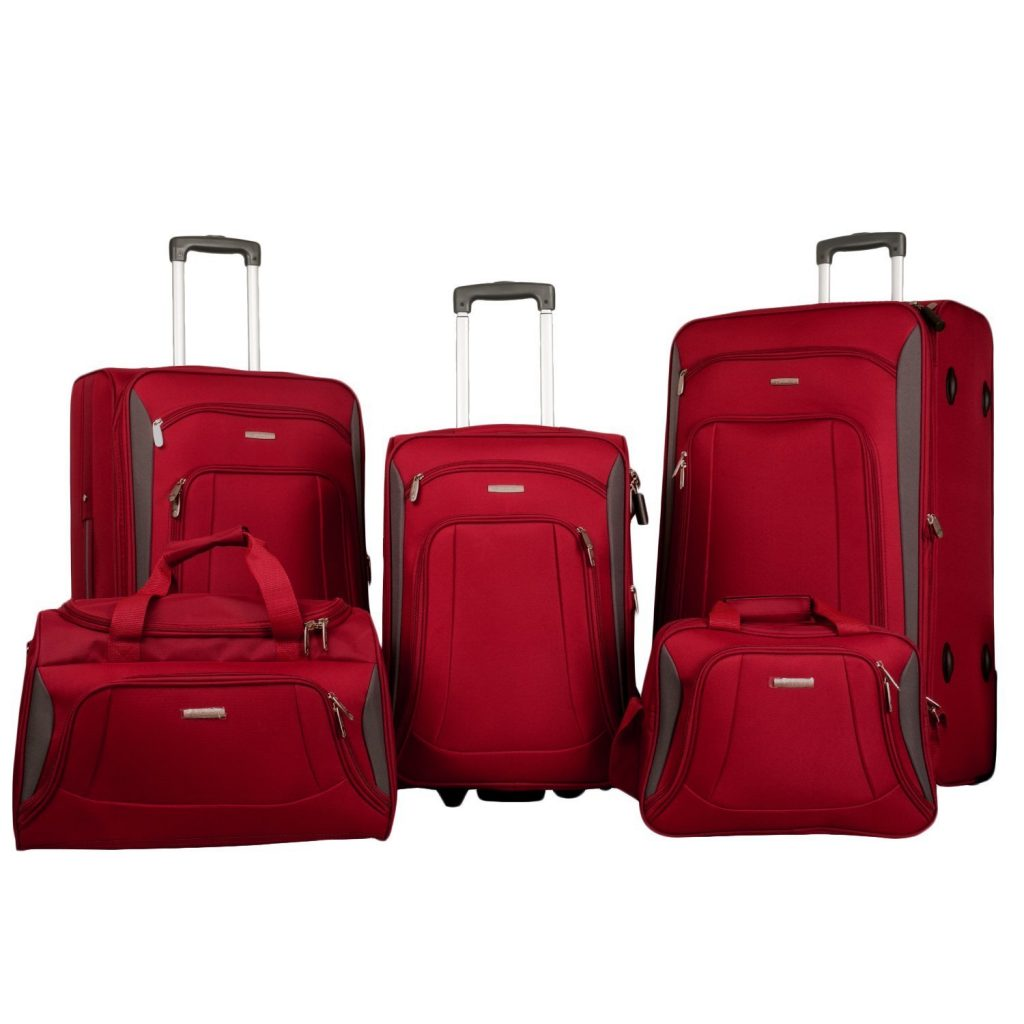 Merax Newest 5 Piece Luggage Review Red Grey