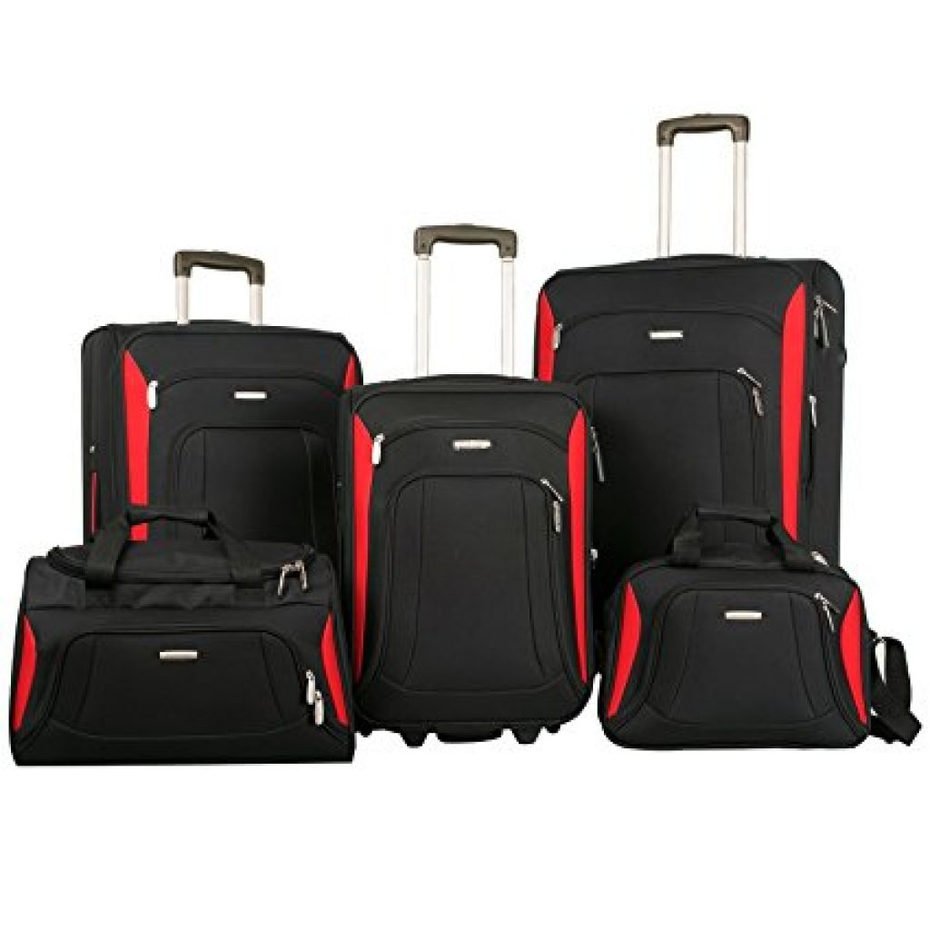 Merax Newest 5 Piece Luggage Review Black Red